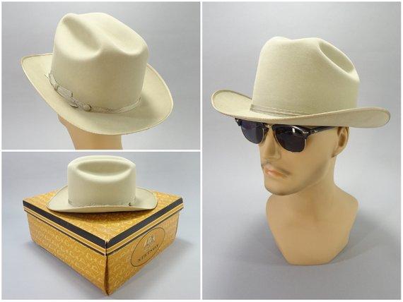 6df388737f7e9 1960s Vintage Royal Stetson Cowboy Hat With Original Box Size 7-1 8 Top  Quality Silverbelly Felt 186