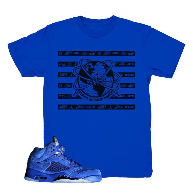 d2e421c750c590 Jordan 5 Blue Suede Tee
