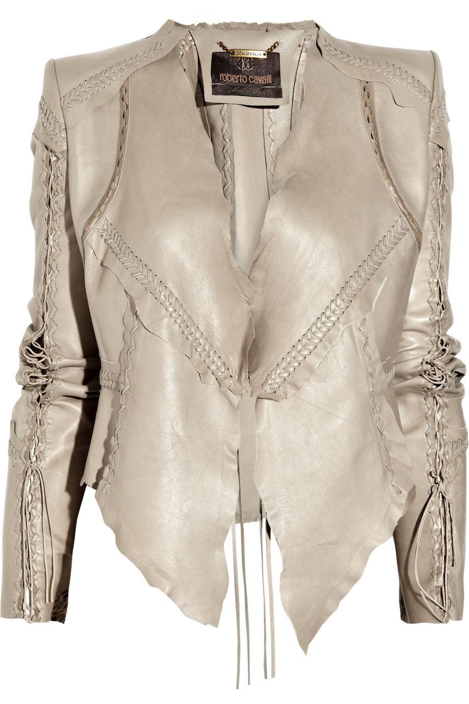 Roberto Cavalli lace-up leather jacket-yay!  64278fa30
