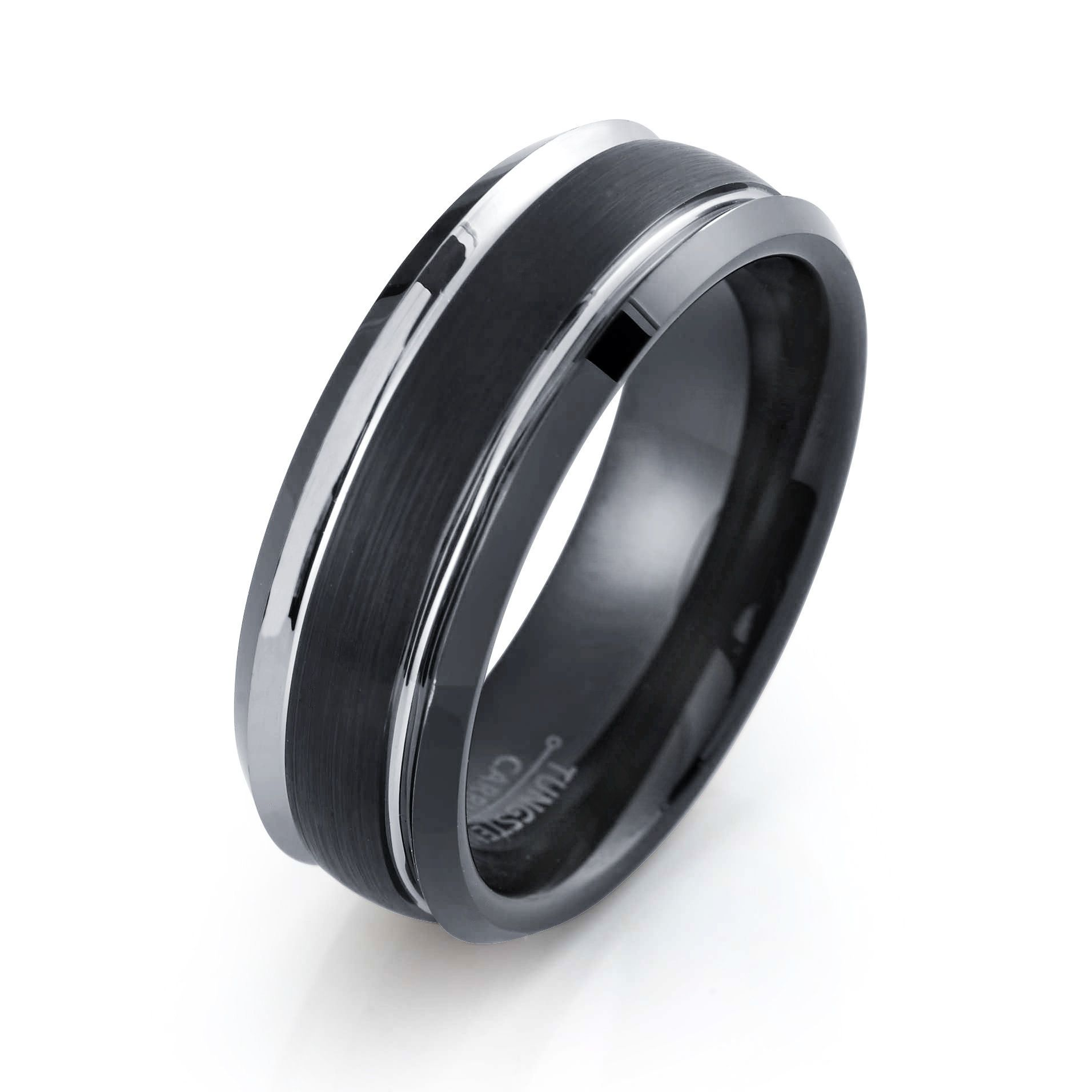 Tungsten Wedding Band Brushed Black Ring Mens Wedding Band