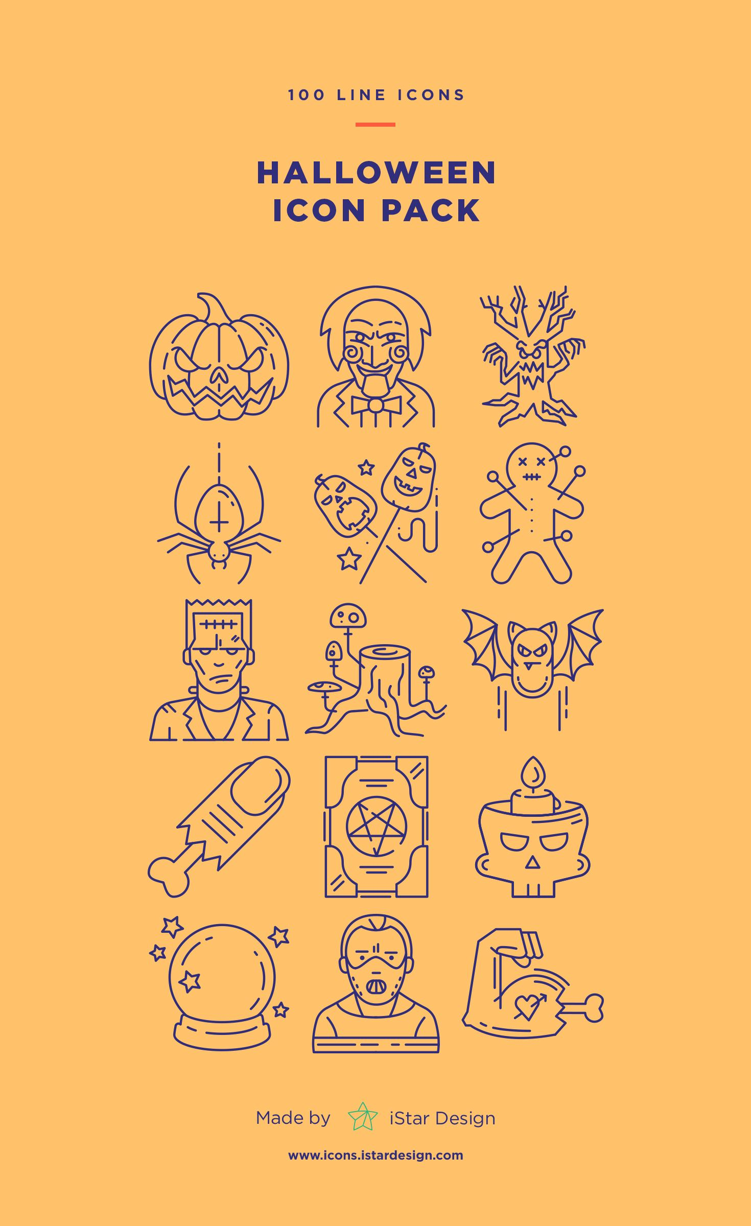 Download Halloween Line Icons Set made by iStar Design