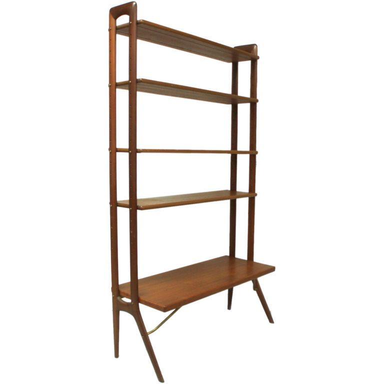 A Teak and Brass Shelf Unit Attributed to Kurt Ostervig Teak