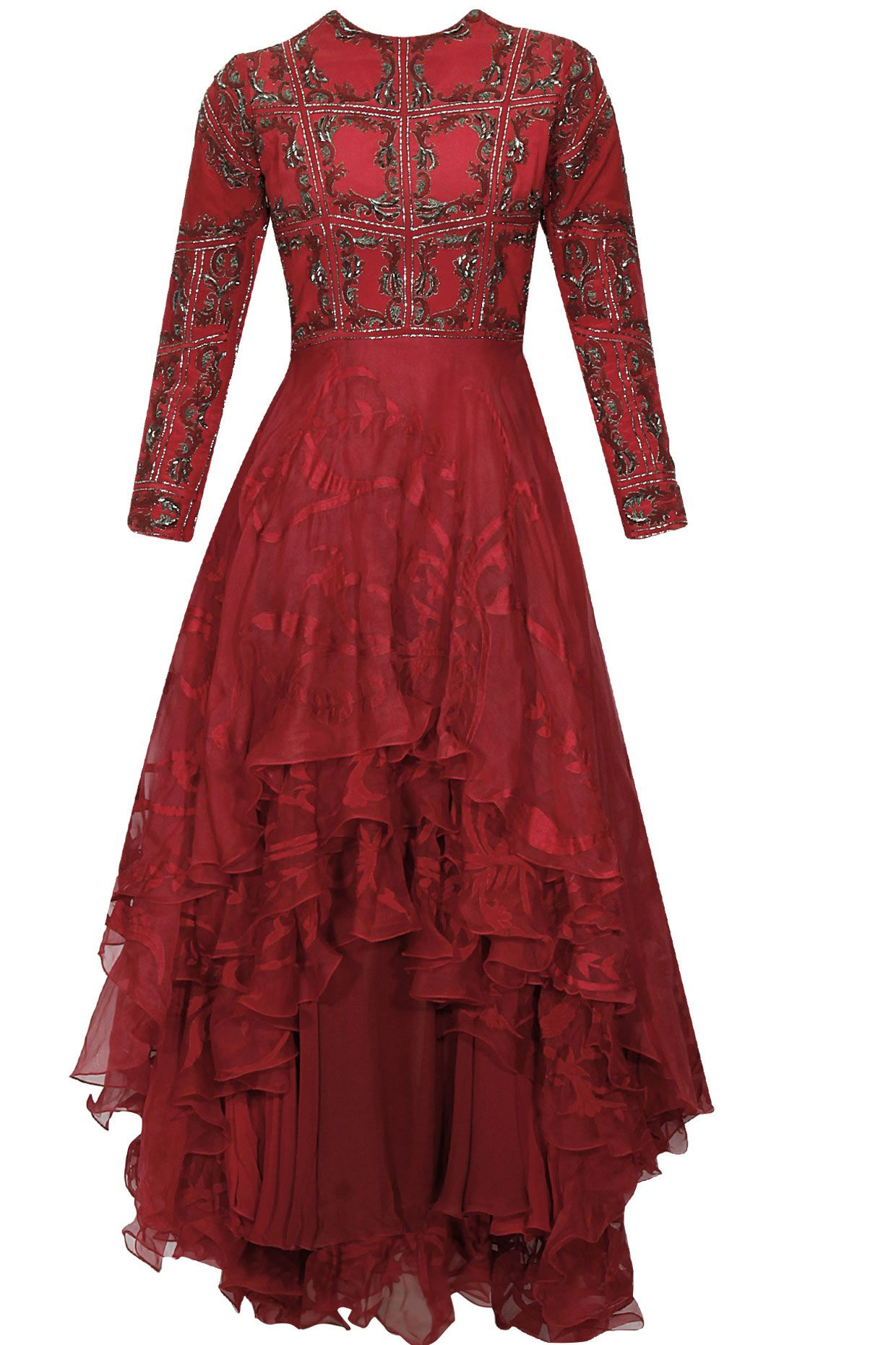 Red block print embellished asymmetrical layered gown dress