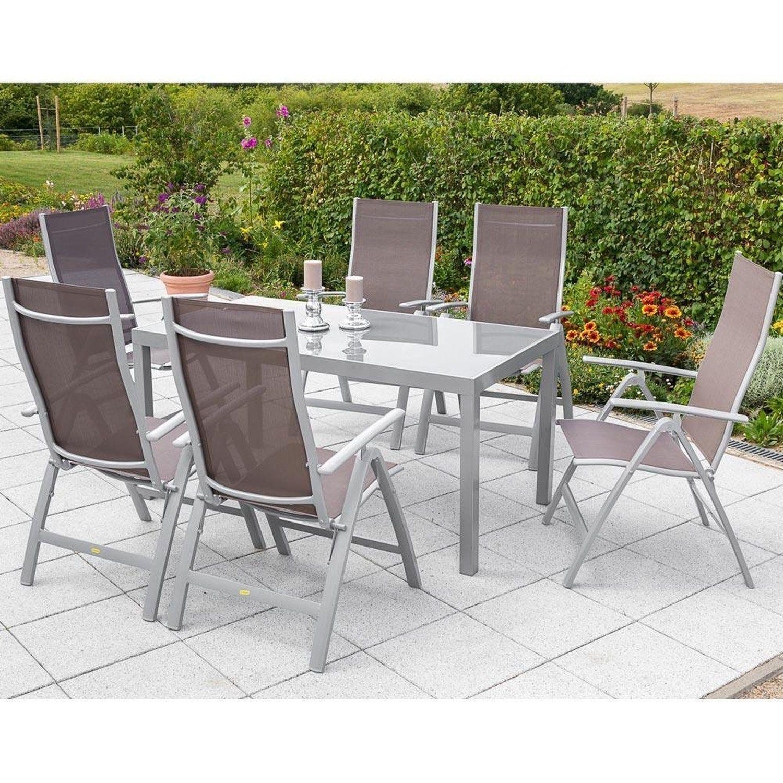 Gartenmöbel Aluminium Set 6x Garten Klappsessel 1x Gartentisch 150