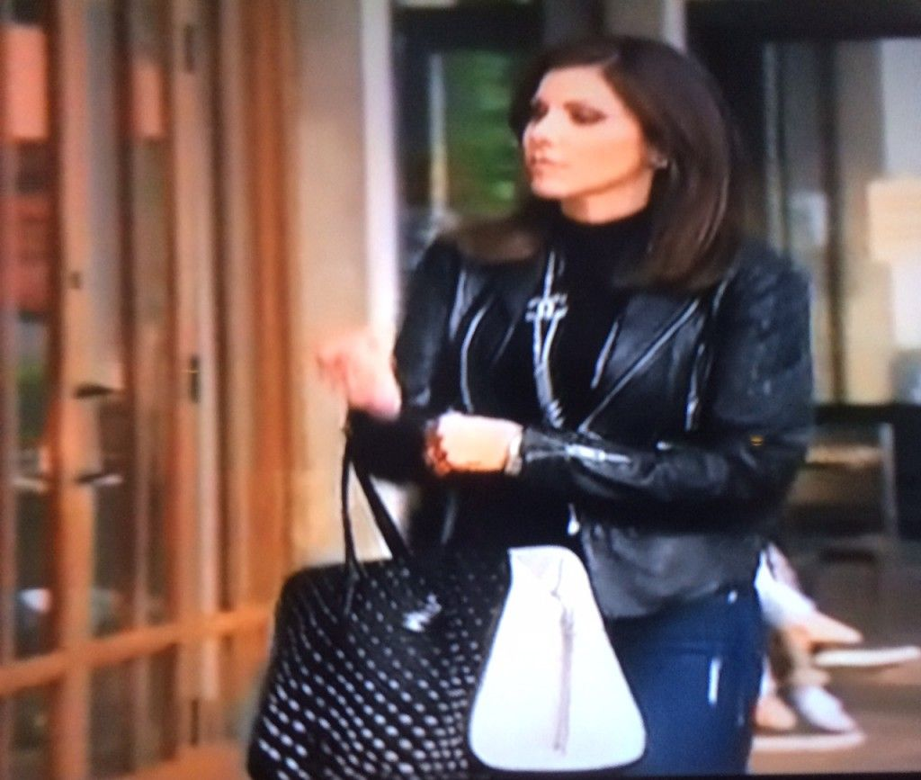 heather dubrow u0027s black and white studded tote real housewives