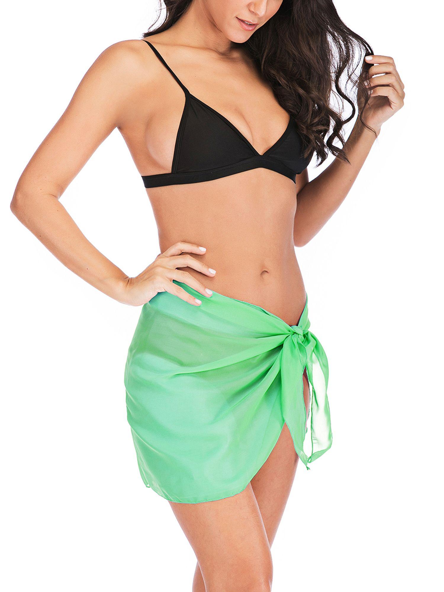 296726cb8dc7d SAYFUT Women s Ice Silk Sexy Spaghetti Strap Backless Beach Dress Swimsuit  Cover Up Bikini Wrap Beachwear