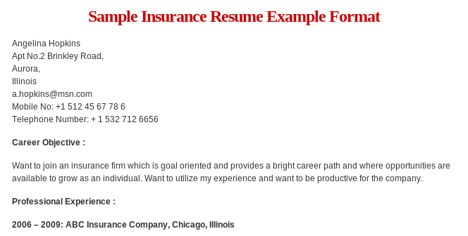 Sample Insurance Resume Format Read More  HttpWwwResumeformat