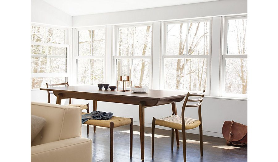 A Narrow Long Dining Table In Walnut Odin Rectangular Extension