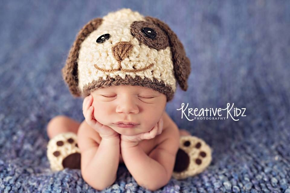 Baby boy hat puppy luv newborn baby boy crochet doggy hat and paws booties dog hat slippers by jerribeccahats2 on etsy