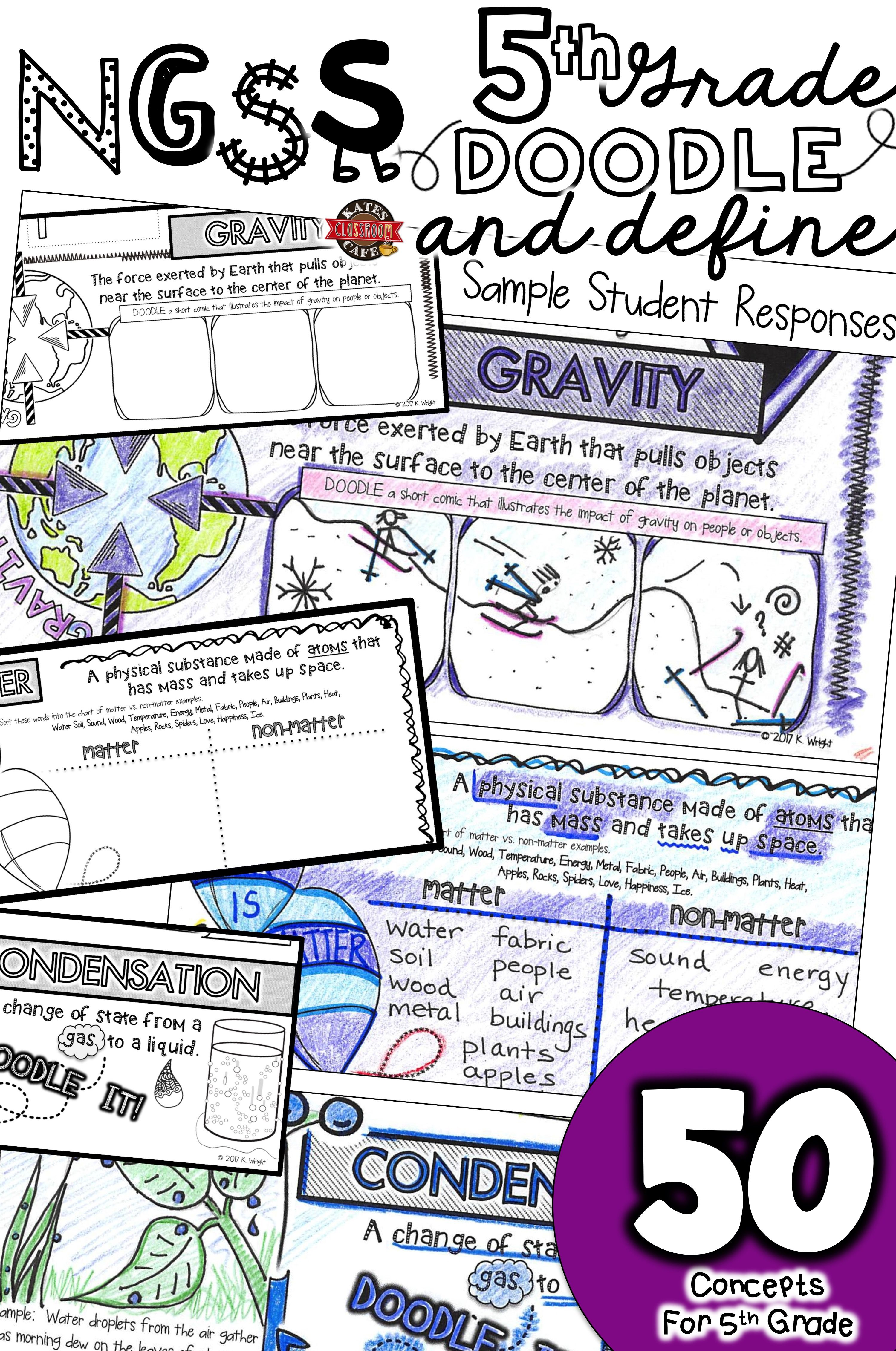 50 Science Words Every 5th Grader Should Know 5th Grade Ngss Vocabulary Doodle Notes Reinforce