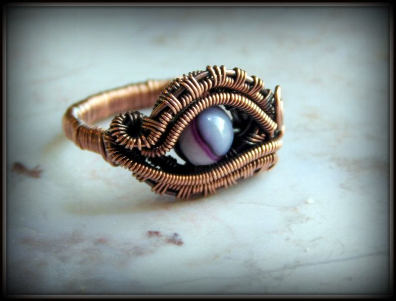 Eye of Aphrodite Ring, Copper Ring, Wire Wrapped Copper Ring, Mystic ...