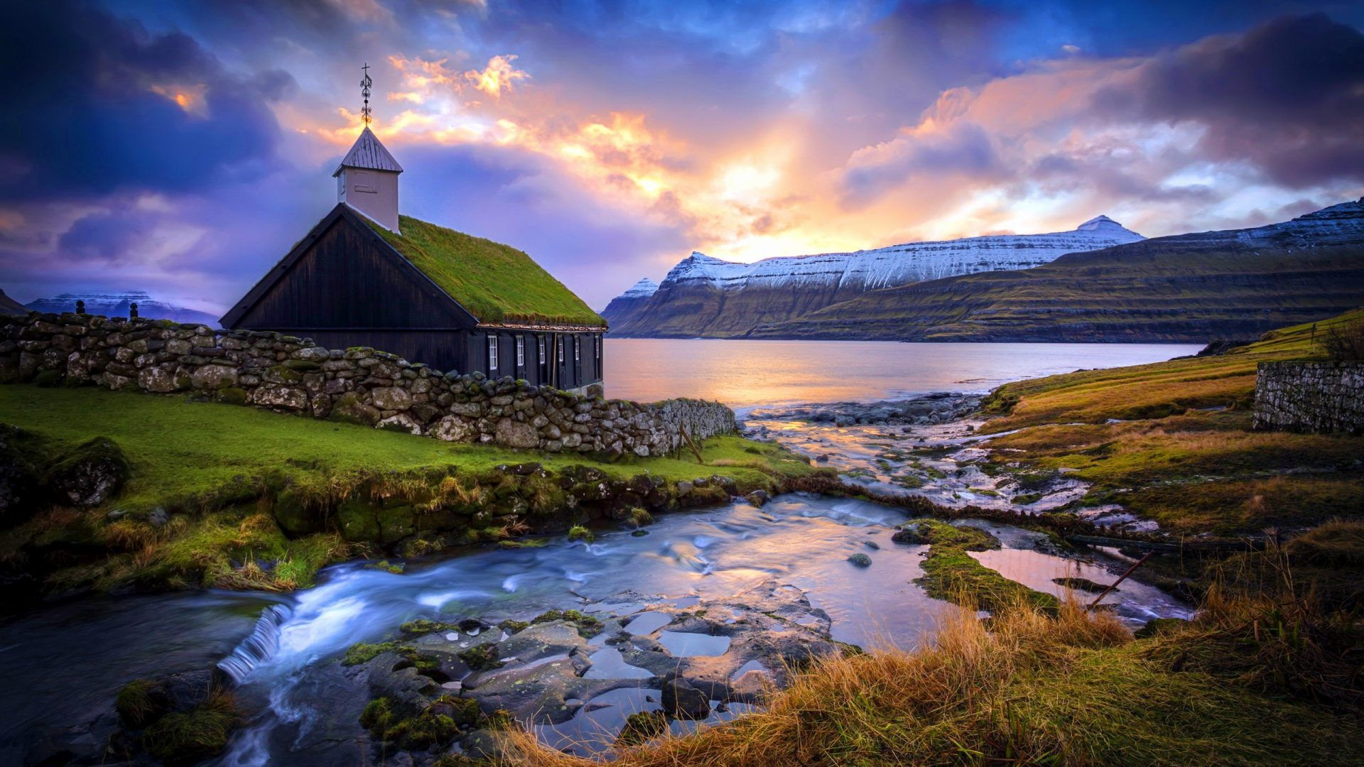 Mountain Church Island House Sunrise Beautiful Faroe Nature Lake River Faroe Islands Visit Faroe Islands Island Wallpaper