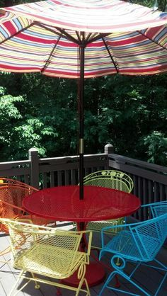 deck wrought iron table. My Newly Painted Wrought Iron Furniture And Stained Deck. Let The Summer Begin! Deck Table O