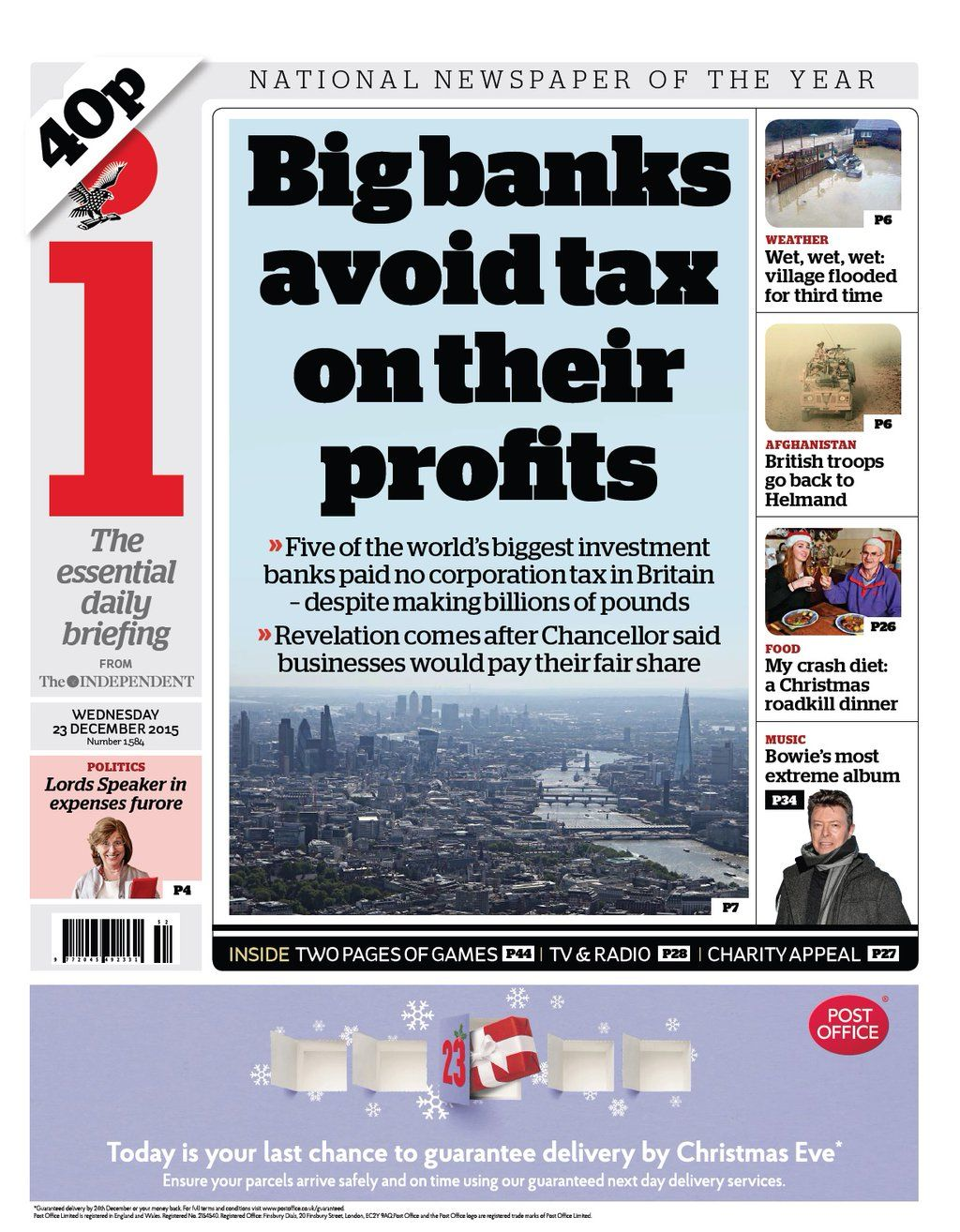 Wednesday's i front page: Big banks avoid tax on their profits #tomorrowspaperstoday #bbcpapers https://t.co/5ozC8Cce54