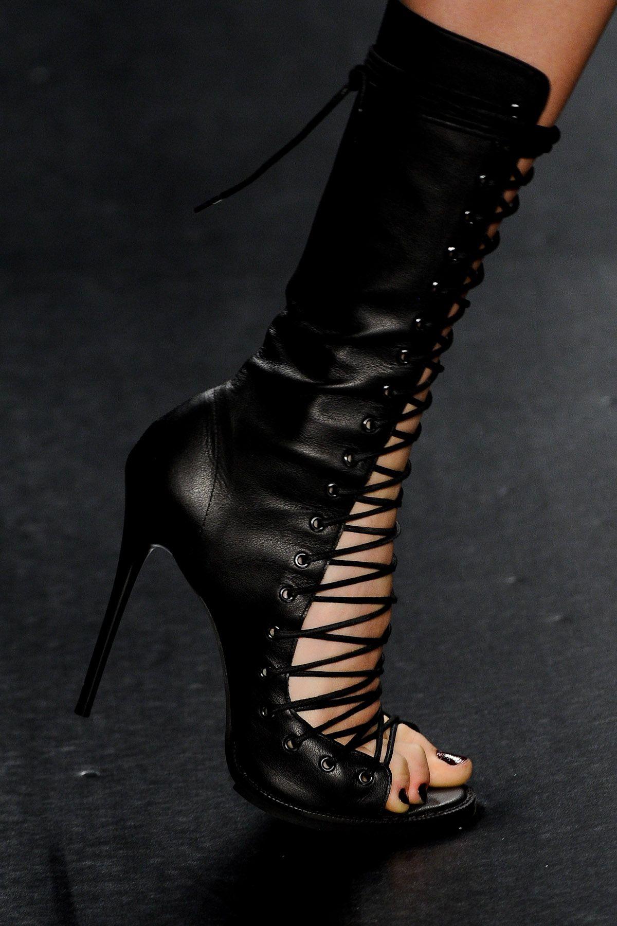 Tufi Duek lace up black leather open toe calf high heel sandals