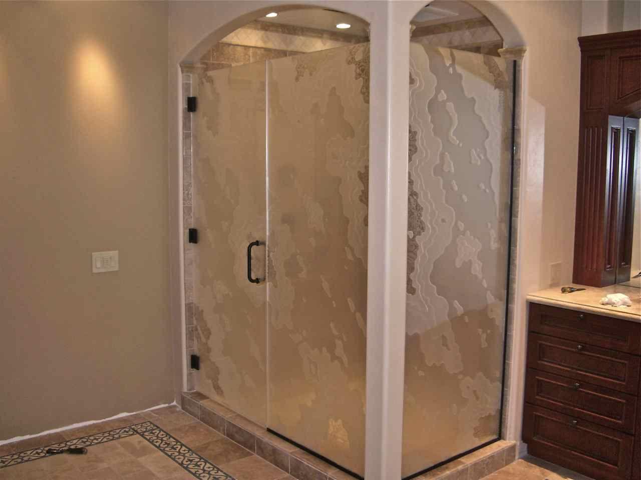 Amoeba Pattern Shower Enclosure (Additional View)   Glass Shower ...