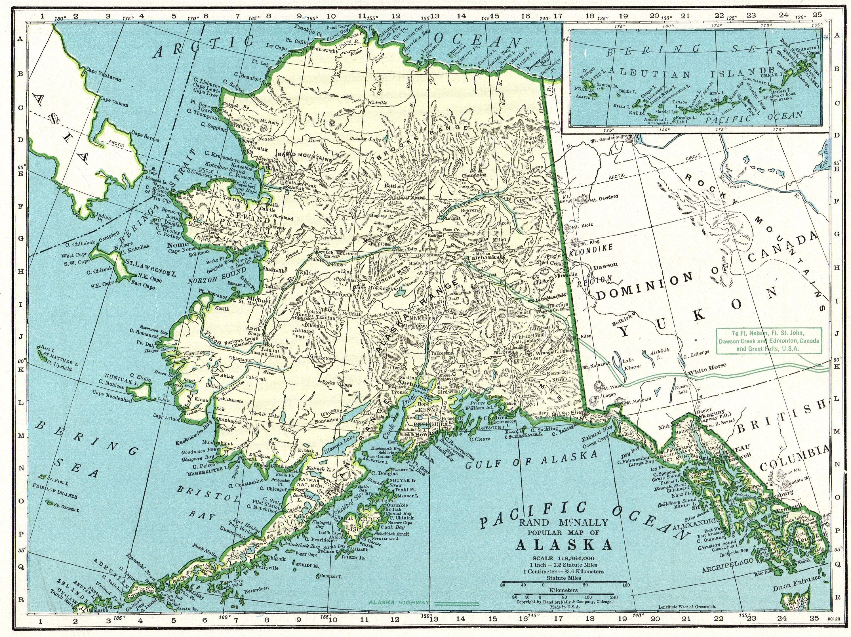 Antique Alaska State Map Vintage Map Of Alaska