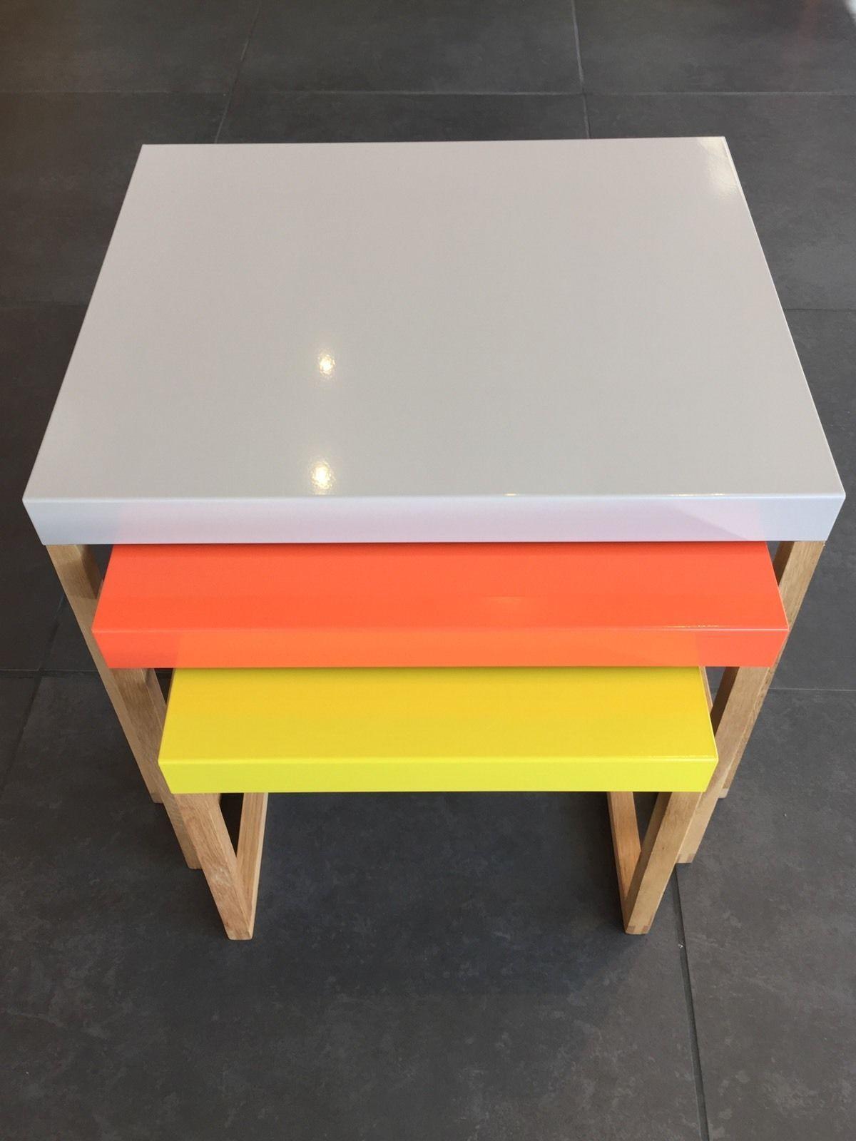 new habitat kilo metal nest of tables multi colour grey orange