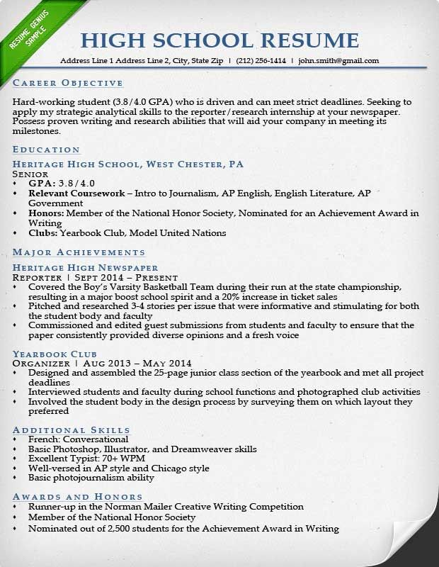 Resume Format High School High school resume, Student