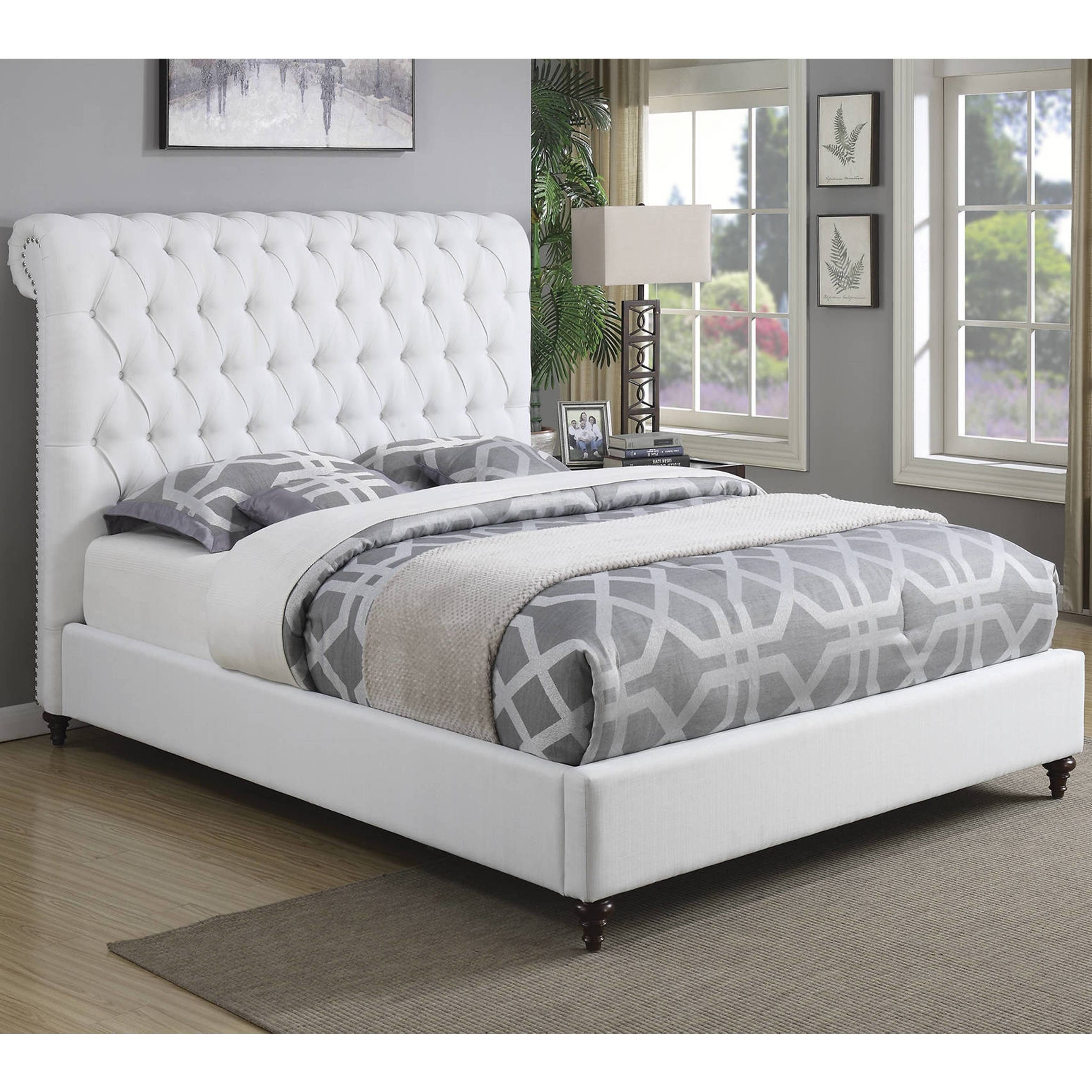 Modern Design Upholstered Bed With Diamond On Tufted