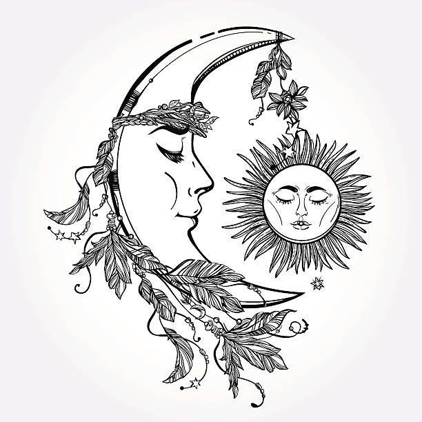 Crescent Moon and Sleeping Sun. Vector. vector art illustration ...