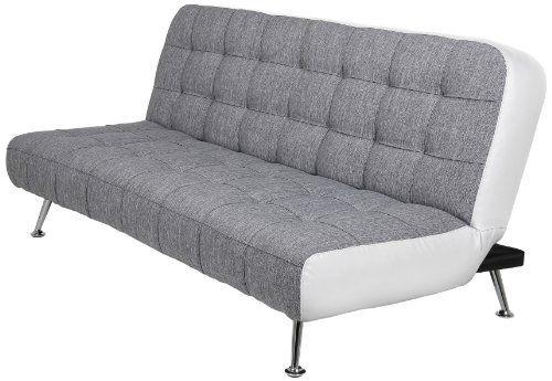 AC Design Furniture 51461 Schlafsofa Joost, Bezug Stoff dunkelgrau - weiss grau wohnzimmer mit violett deko