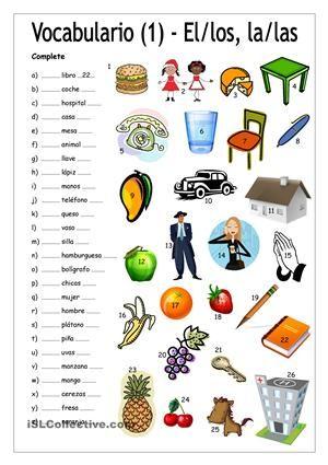 Vocabulario 1 - Complete con EL/LOS/LA/LAS trabajos - Hojas de ...