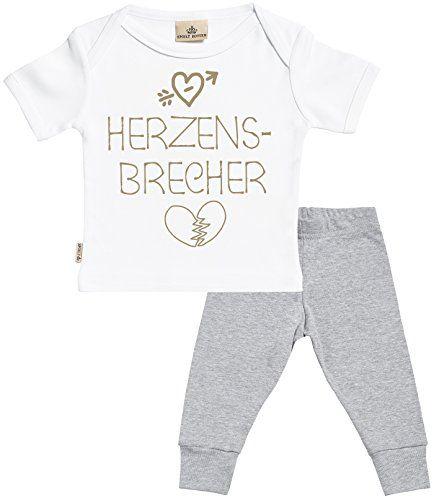 SR - Herzensbrecher Baby Set - Weiß Baby T-Shirt & Grau Baby-Jerseyhose - Baby T Shirt & Baby Hosen Babyoutfit - 6-12 Monate #babysets