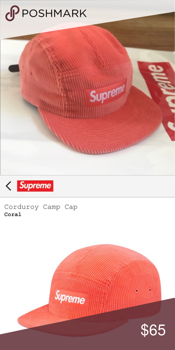 Brand New Supreme Hat Brand New Sold Out Corduroy Camp Cap Color Coral Supreme Accessories Hats Supreme Hat Supreme Accessories Accessories Hats