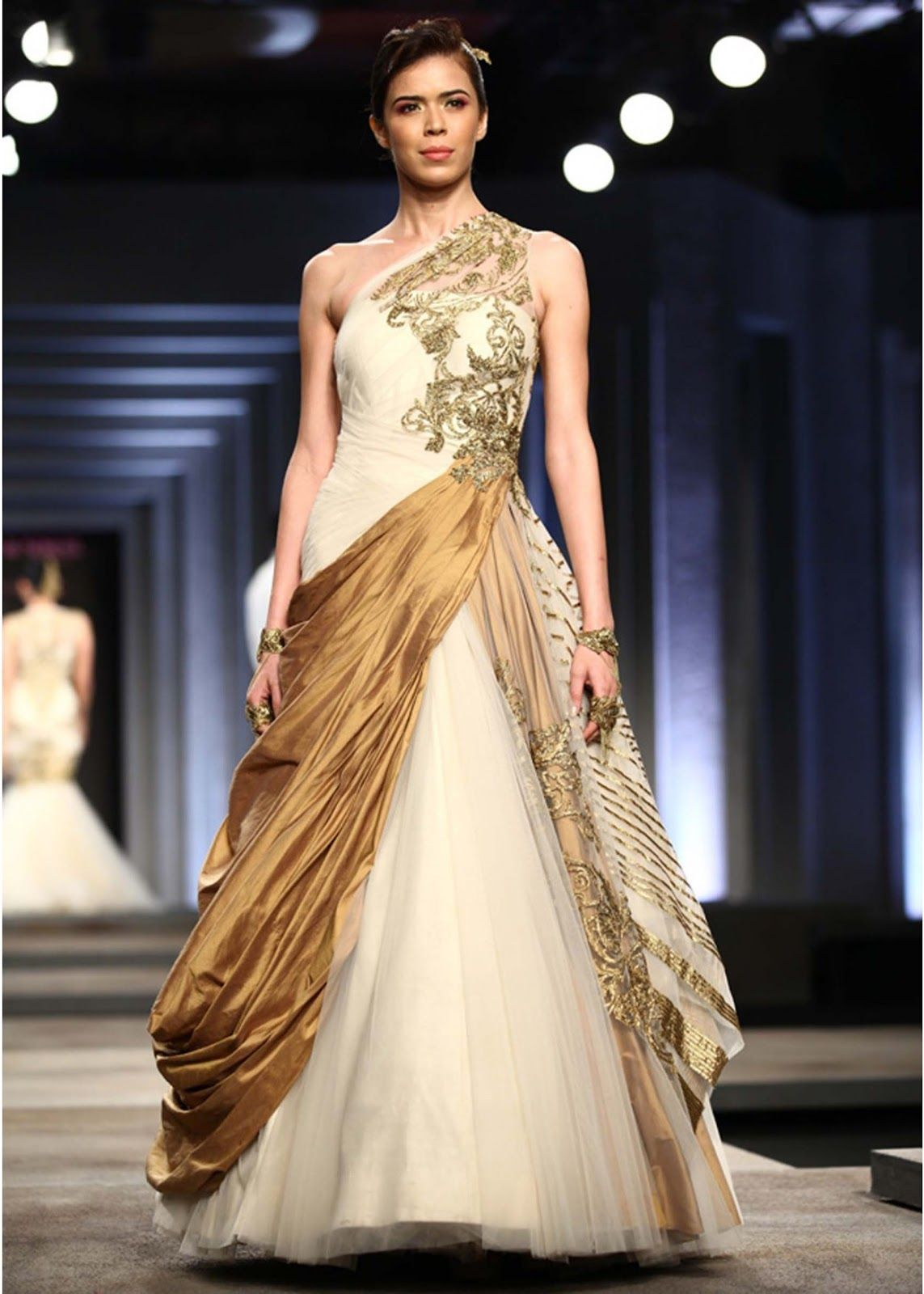 Wedding gown dress indian fashion week wow love the for Indian wedding dresses online india