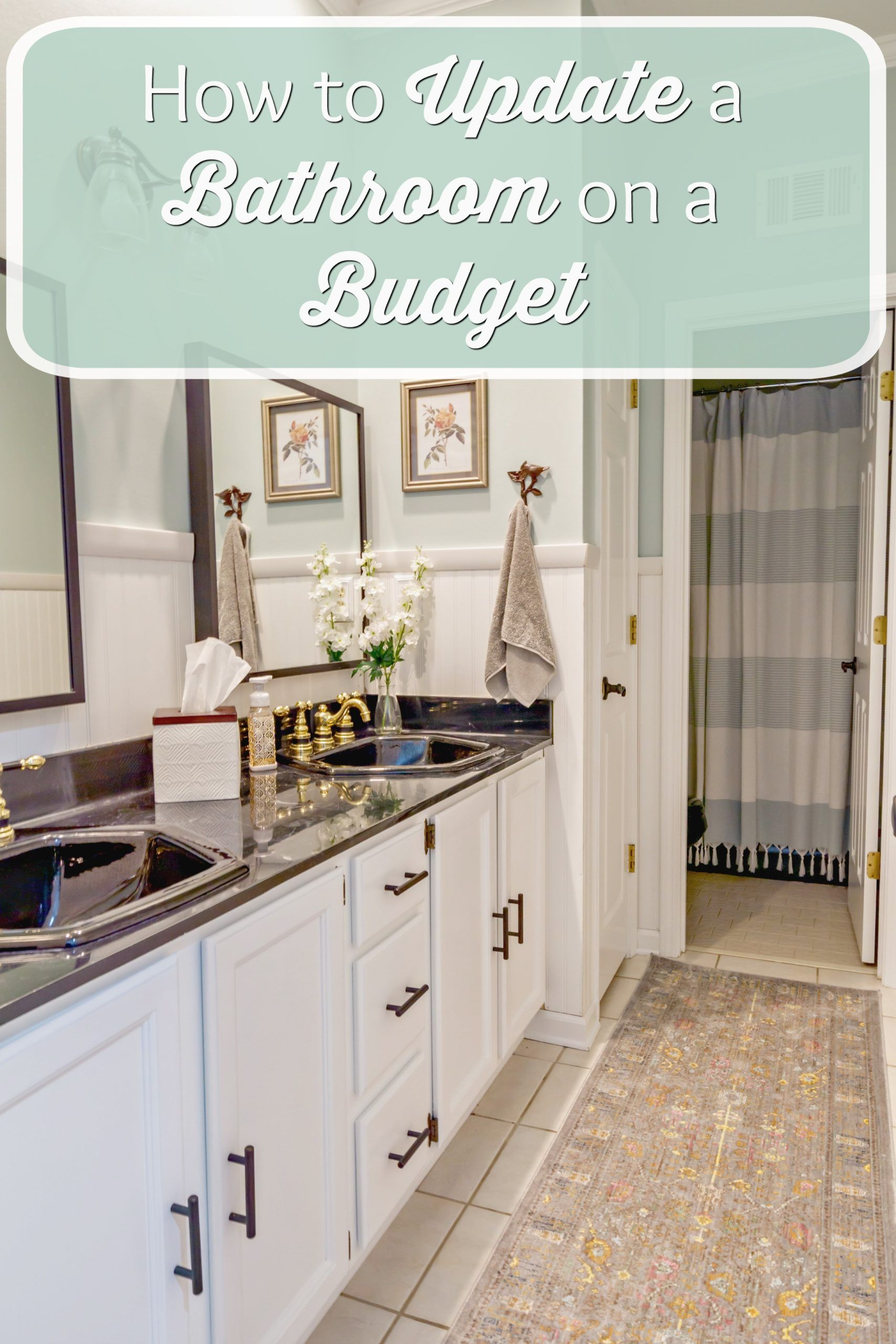 How To Update A Bathroom On A Budget Health Home And Heart In 2020 Budget Bathroom Bathroom Update Diy House Projects