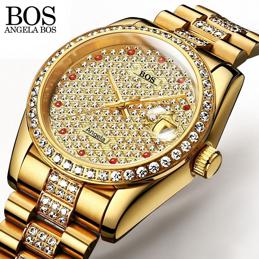 2a6e1a7e5bc ANEGLA BOS Full Diamond Gold Watch Men Self-wind Automatic Watches Men Luxury  Brand Mechanical
