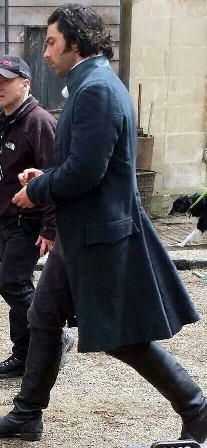 Aidan on the set from Poldark, God I love that coat!