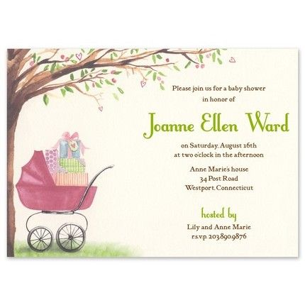 pink carriage invitations bonnie marcus girl baby shower ideas