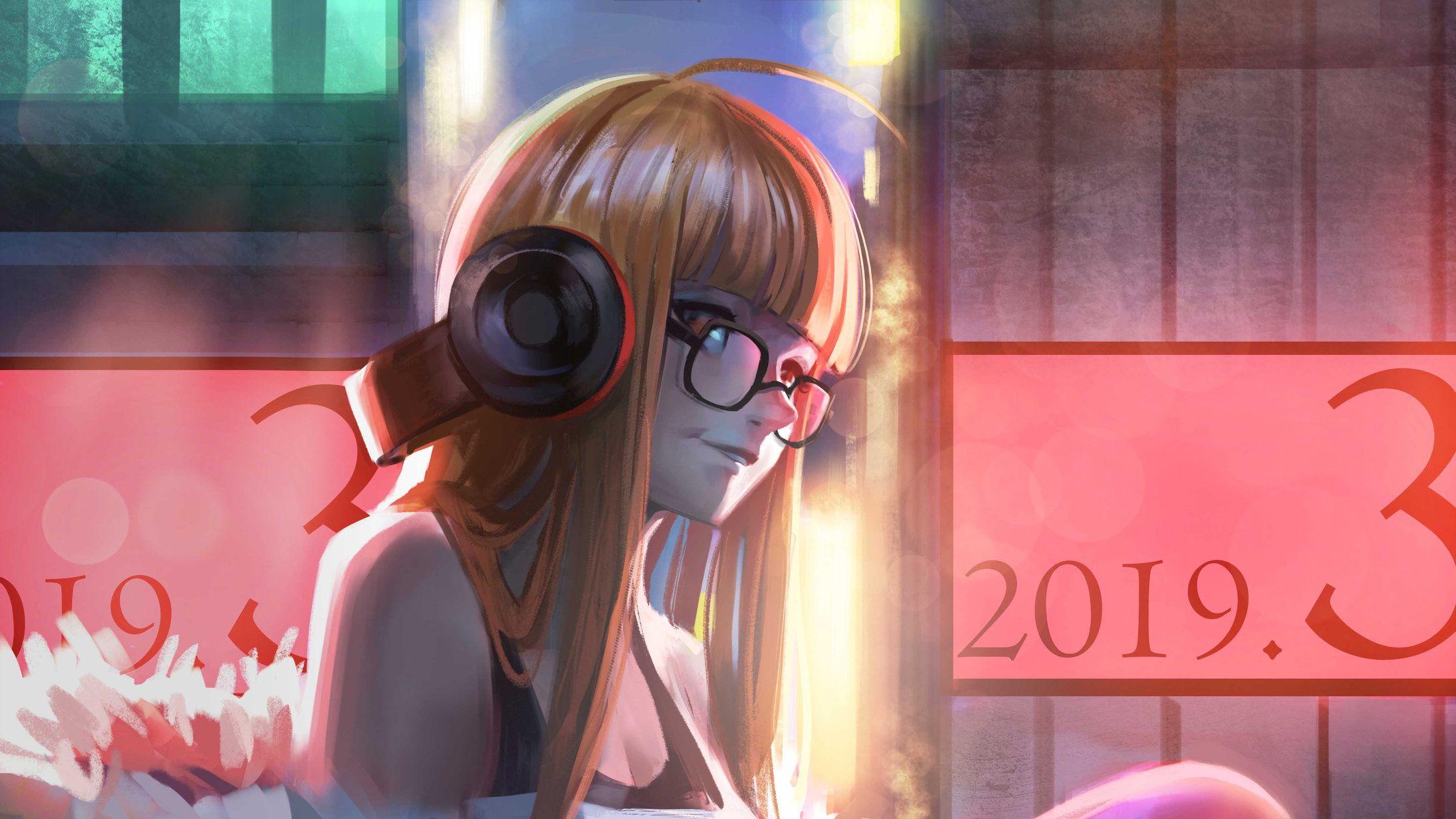 Persona 5 Wallpaper 2190x1232 Headphones Art Persona 5 Girl With Headphones