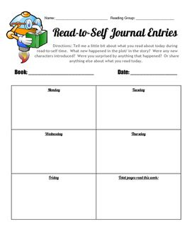 Editable Read To Self Journal Entry Form Guided Reading