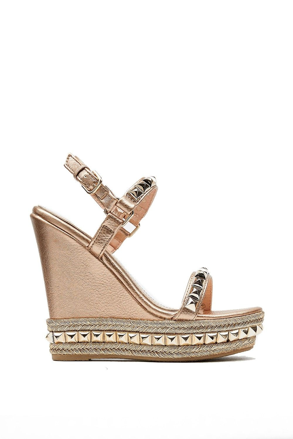 7ab33cc880f Jassalyn Rose Gold Studded Espadrille Wedges in 2019 | slayin' shoes ...