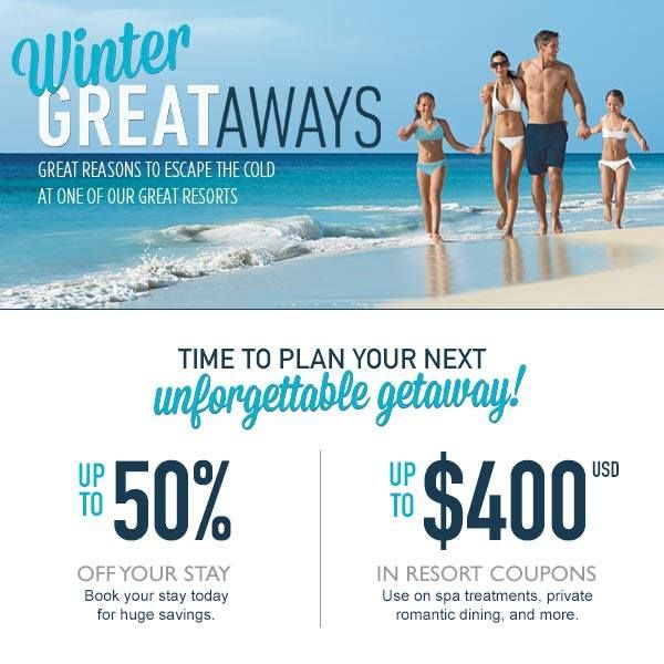 At Sunscape Resorts & Spas you can escape the cold to one of our great resorts in Mexico, Curacao, Jamaica or the Dominican Republic!