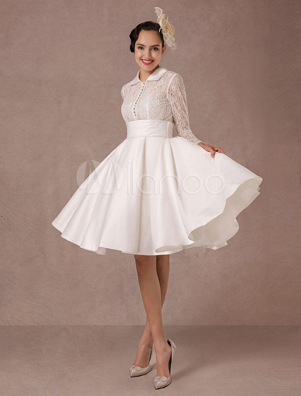 Weinlese-Hochzeits-Kleid-lange Spitze-Hülsen-Satin-Brautkleid