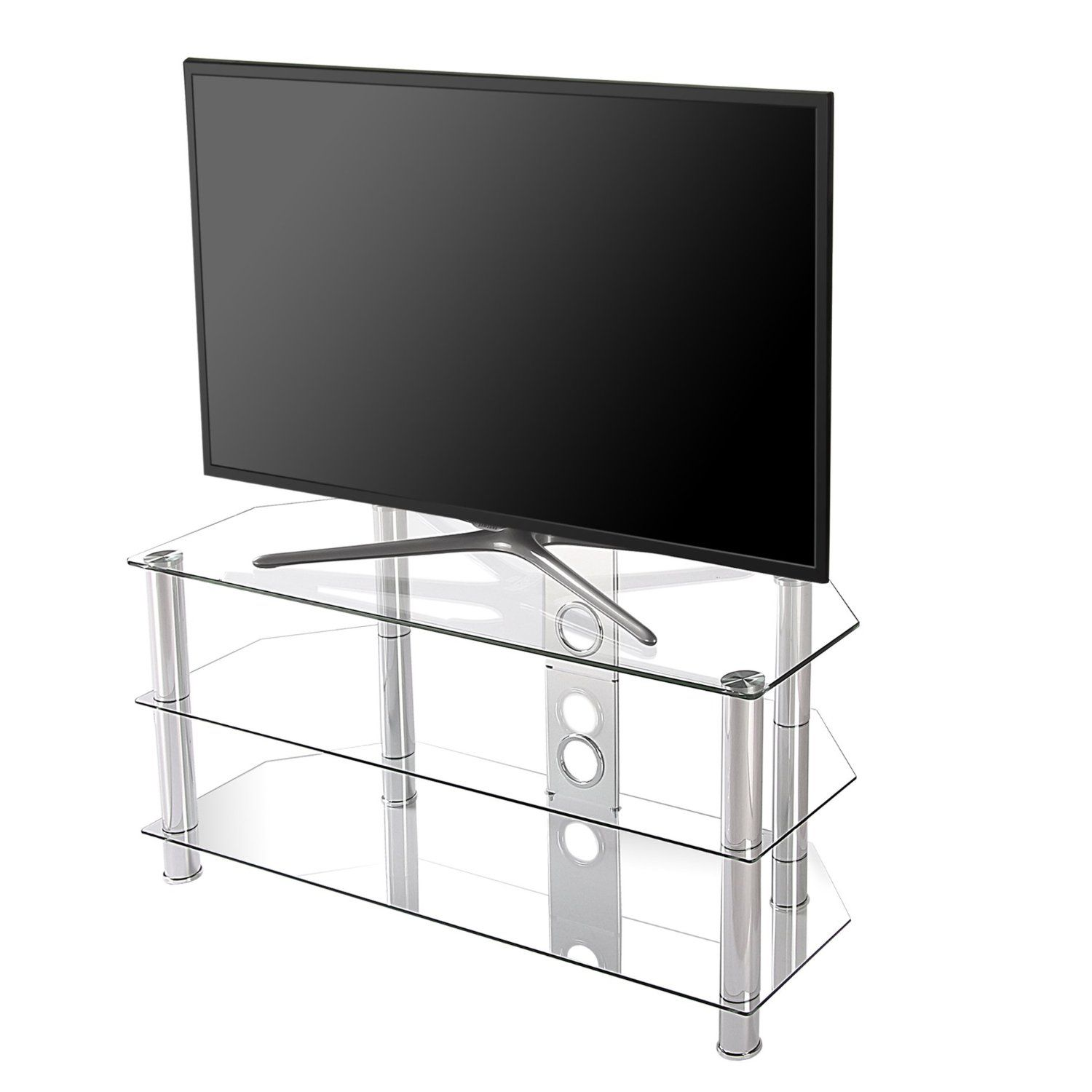 fc41d3acdf49 Amazon.com: Fitueyes Classic Clear Tempered Glass Tv Stand Suit for up to 46