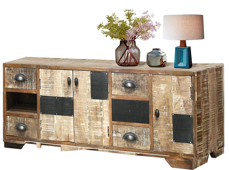 Sideboard 2 Schubladen Regal shabby Recyclingholz Möbel bunt Vintage Schrank