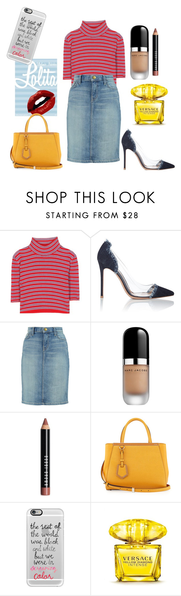 """""""prefer colors"""" by marija-colic7 ❤ liked on Polyvore featuring Alessandra Rich, Gianvito Rossi, Current/Elliott, Marc Jacobs, Bobbi Brown Cosmetics, Fendi, Casetify and Versace"""