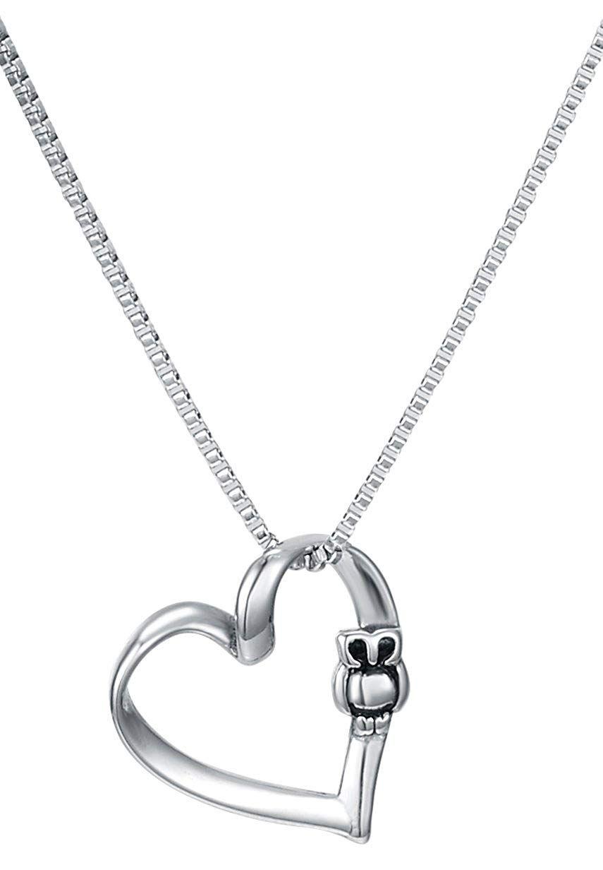 7ecd1c9ed Owl Heart Pendant Necklace, 18' Chain, Stainless Steel - By Regetta Jewelry  *