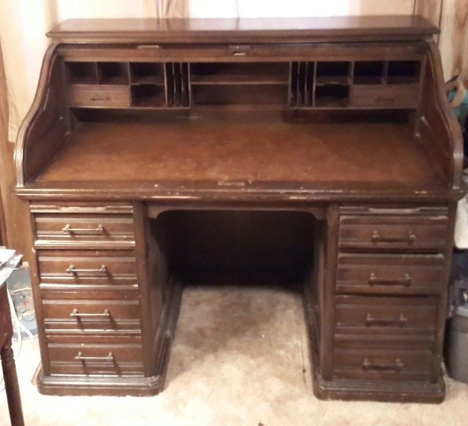 A H Andrews Amp Co Antique Serpentine Roll Top Desk Original