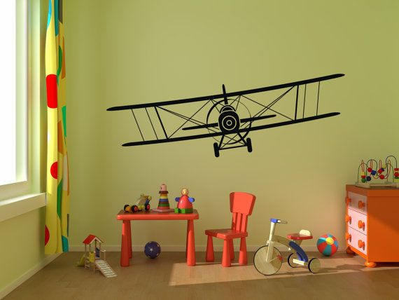 Biplane Vinyl Decal Airplane Wall Graphics Choose Color Children Boys Bedroom Decor Gift From 24 X8 Up To 80 X20