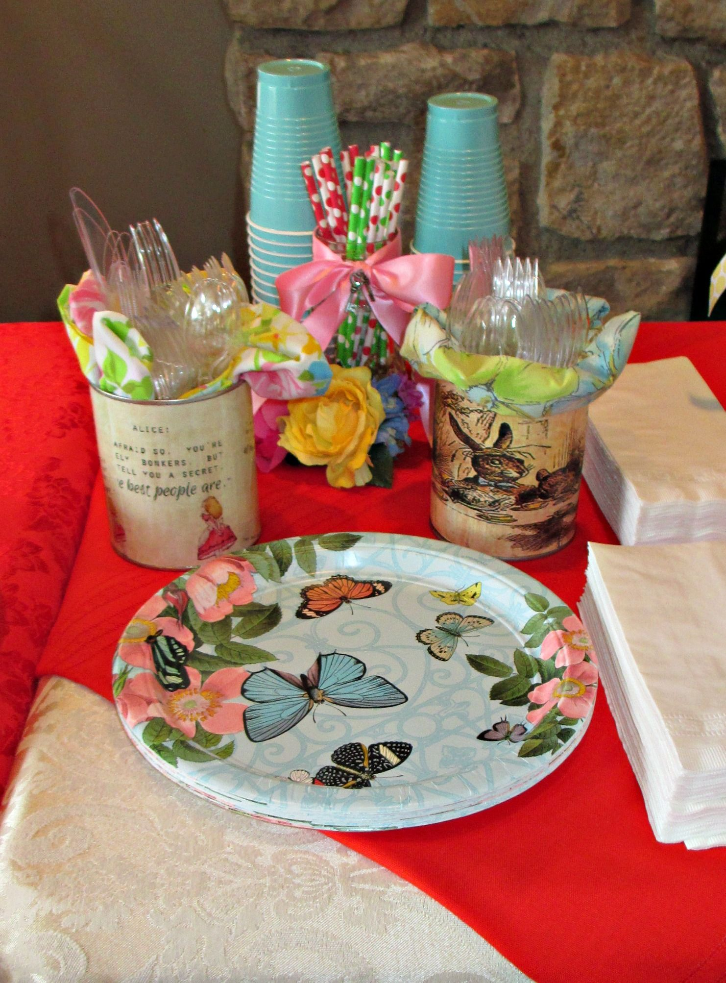 Birthday party table decorations ideas - Sweet 16 Vintage Alice In Wonderland Tea Party Birthday Party Table Decoration Ideas