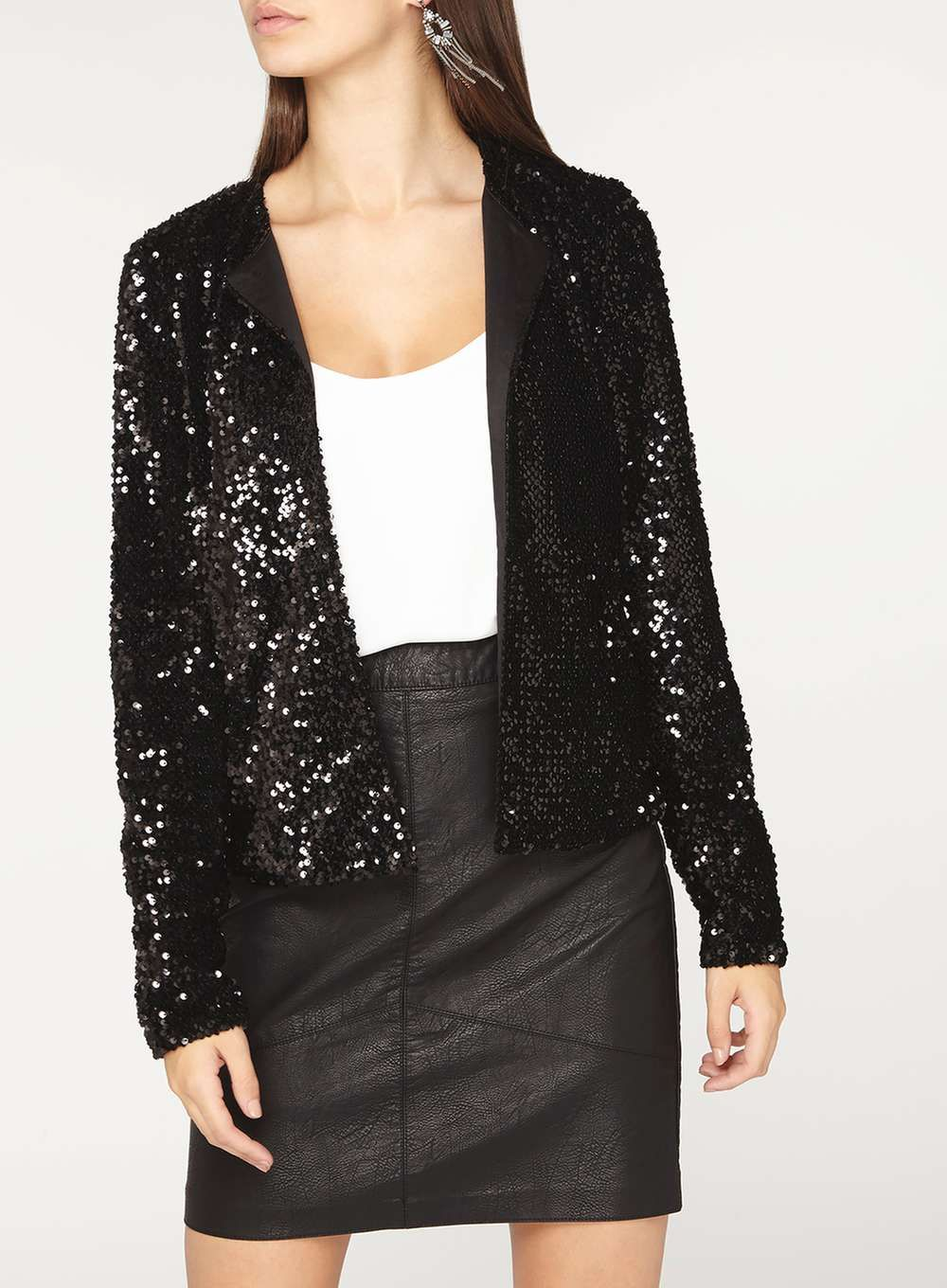 0ebbf4f5ec6a1 Tall Black Sequin Embellished Boxy Jacket | Marynarki, żakiety ...
