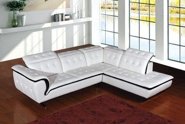 Adjustable Headrest Tufted Upholstery White Leather Sectional Sofa