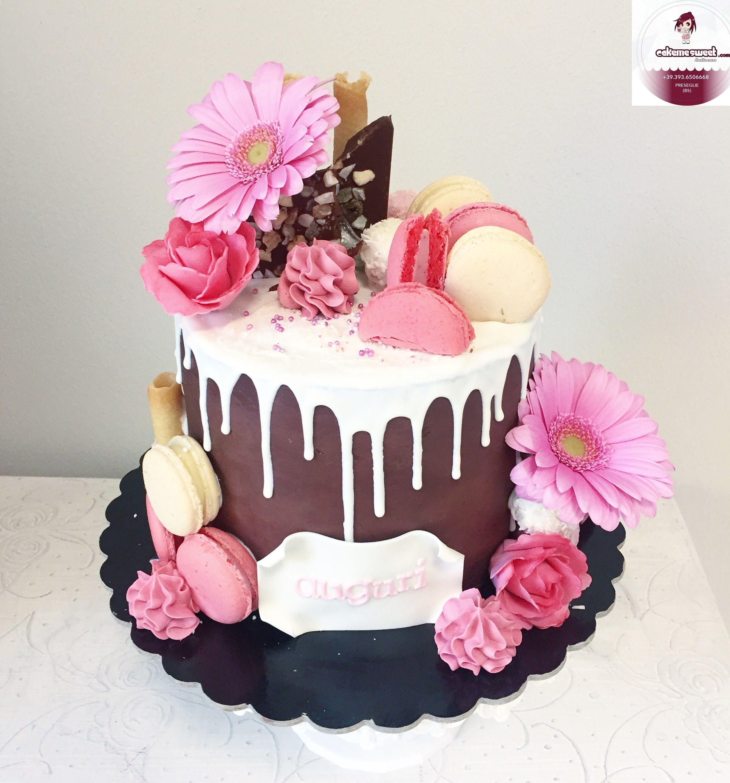 Fantastic Spring Drip Cake By Cakemesweet Birthday Cake With Macarons Birthday Cards Printable Opercafe Filternl