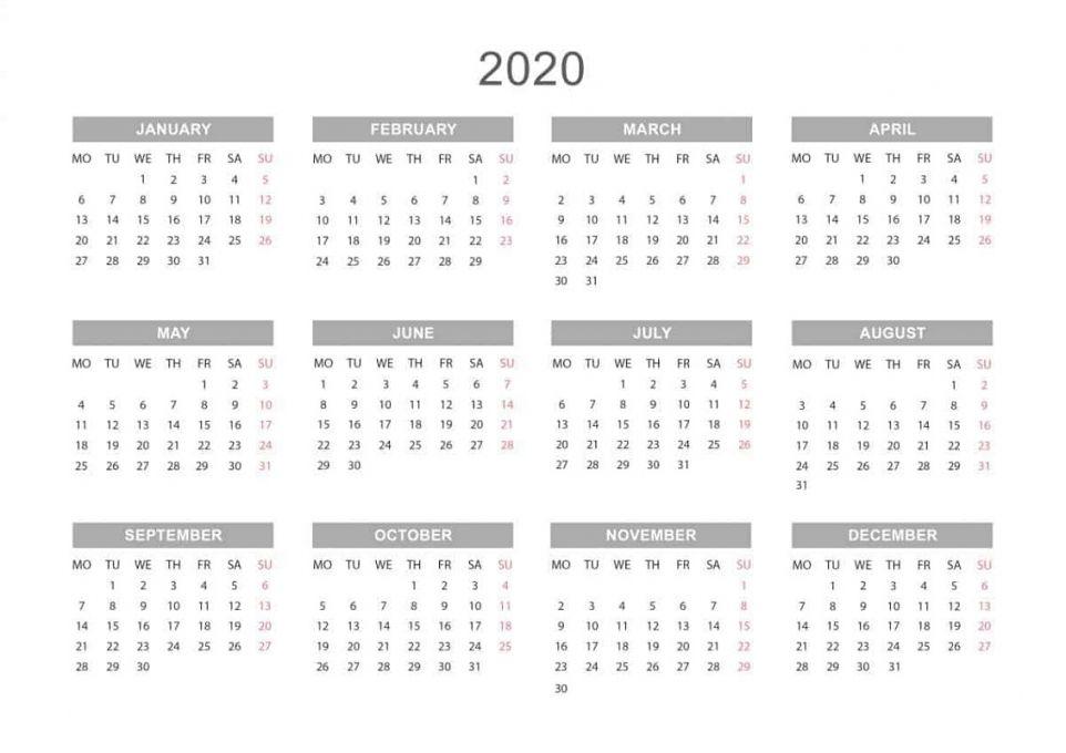 2020 Yearly Calendar Printable Free In 2020 Blank Calendar